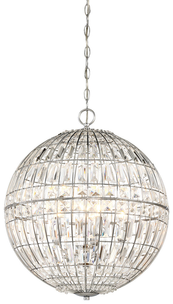 """MNK 2355-77 Palermo 5Lt Chrome Pendant 18""""W X 21-3/4"""" H 60W Candelabra lamp not included"""