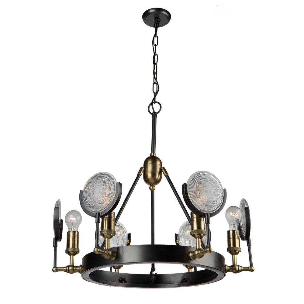 Artcraft Lighting AC10601 6M-60W VINTAGE BRASS CHANDELIER
