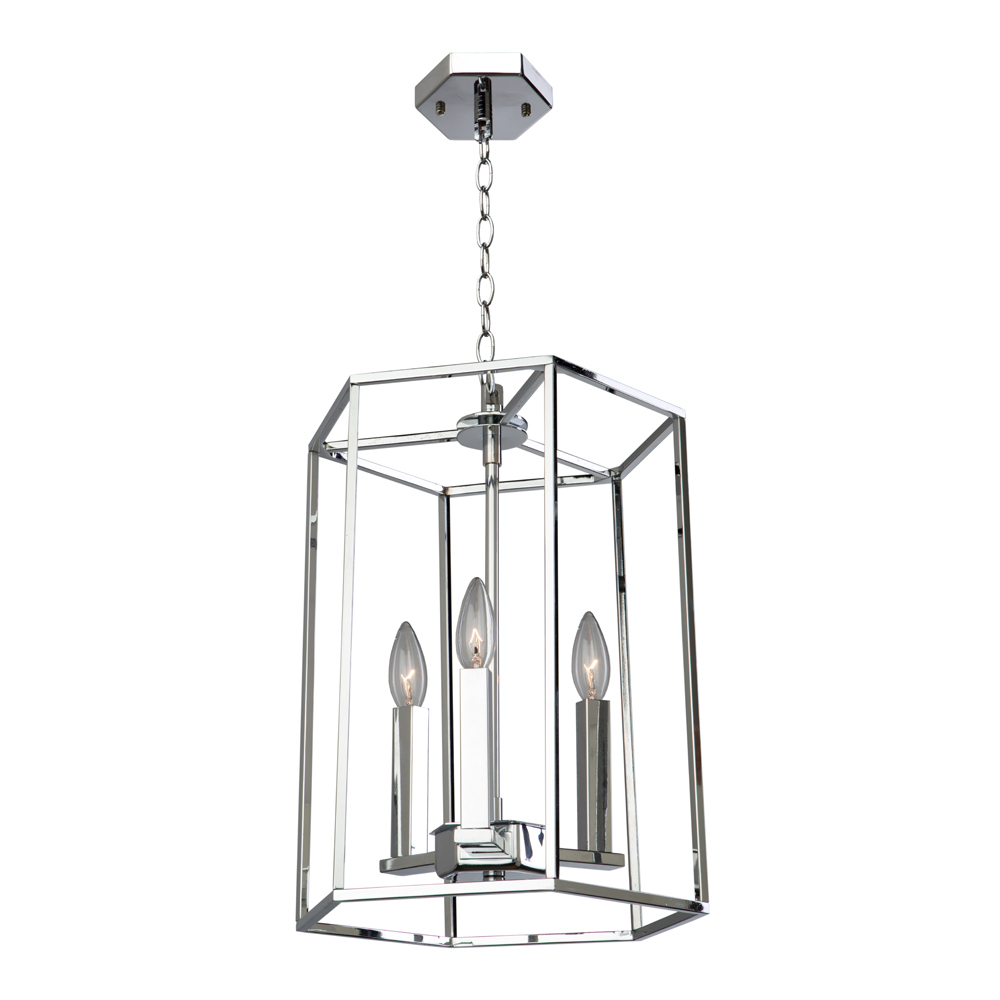 "Artcraft Lighting AC10770CH 3Lt Chrome Pendant 12""W x 16""H 60W Lamp not includ"