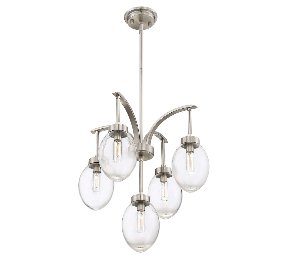 "RGU 1-540-5-SN Ravenia 5 Light Satin Nickel Chandelier 71""H x 20""W 60W Candelabra"