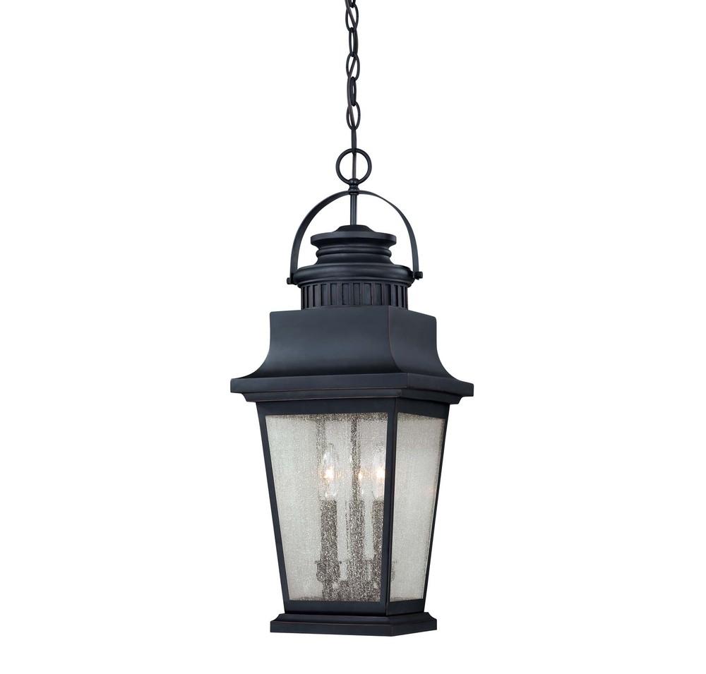 RGU 5-3551-25 Three Light Slate Clear Seeded Glass Hanging Lantern 3X40C * RED TAG ITEM *