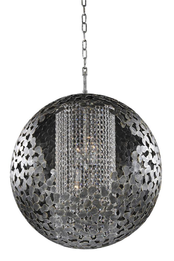 KAL 306950AF Belladonna Antique Silver Leaf 6Lt Chandelier 26