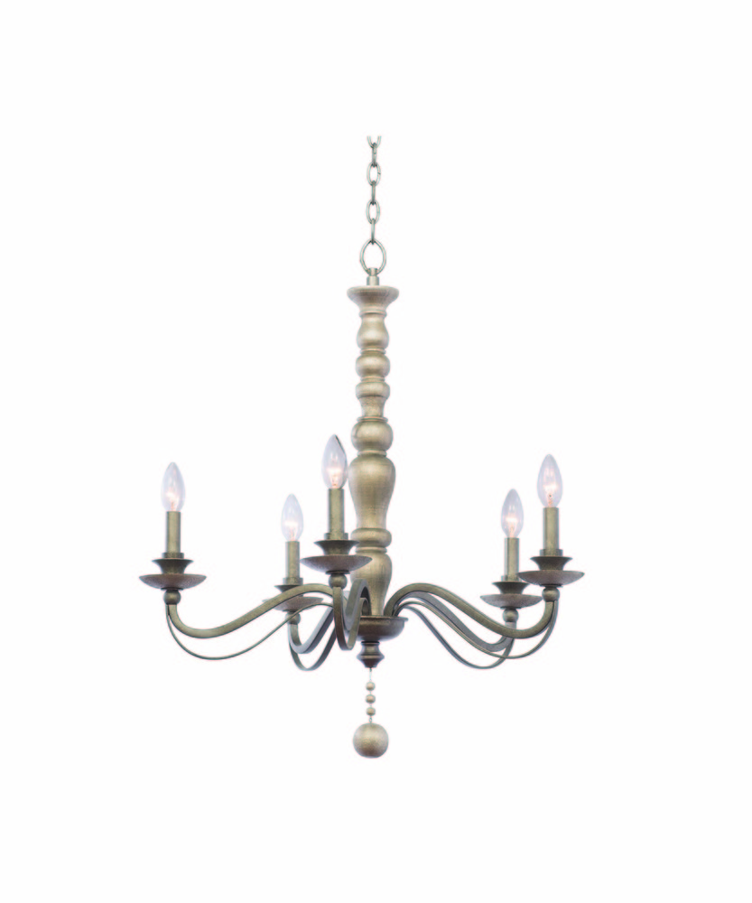 "KAL 506351DS Colony 5Lt Dune Silver Chandelier 29""H x 27""D 60W Candelabra lamp not included"