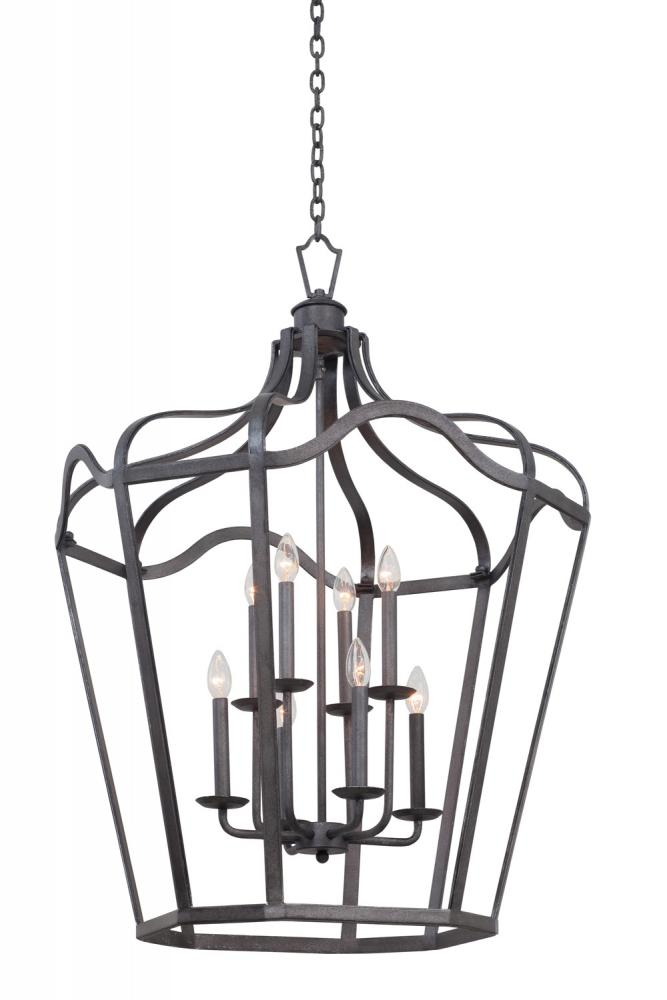 "KAL 7416CL Livingston 6Lt Charcoal Foyer Hall Pendant 43""H x 28""D 60W Candelabra lamp not included"