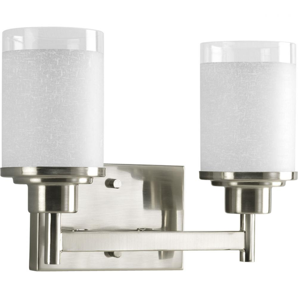 PRO P2977-09 2X100M Brushed Nickel White Linen Glass Alexa Vanity