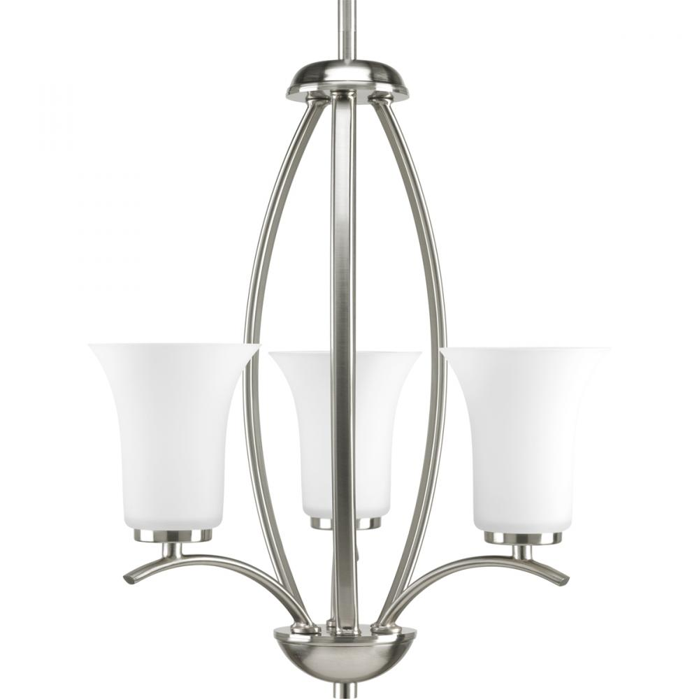 PRO P3587-09 3X60C Brushed Nickel Etched Glass Joy Chandelier