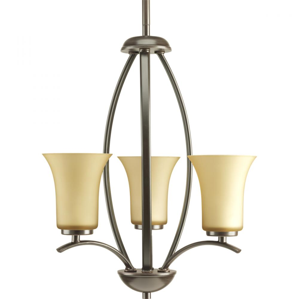 PRO P3587-20 3X60C Antique Bronze Light Umber Glass Joy Chandelier