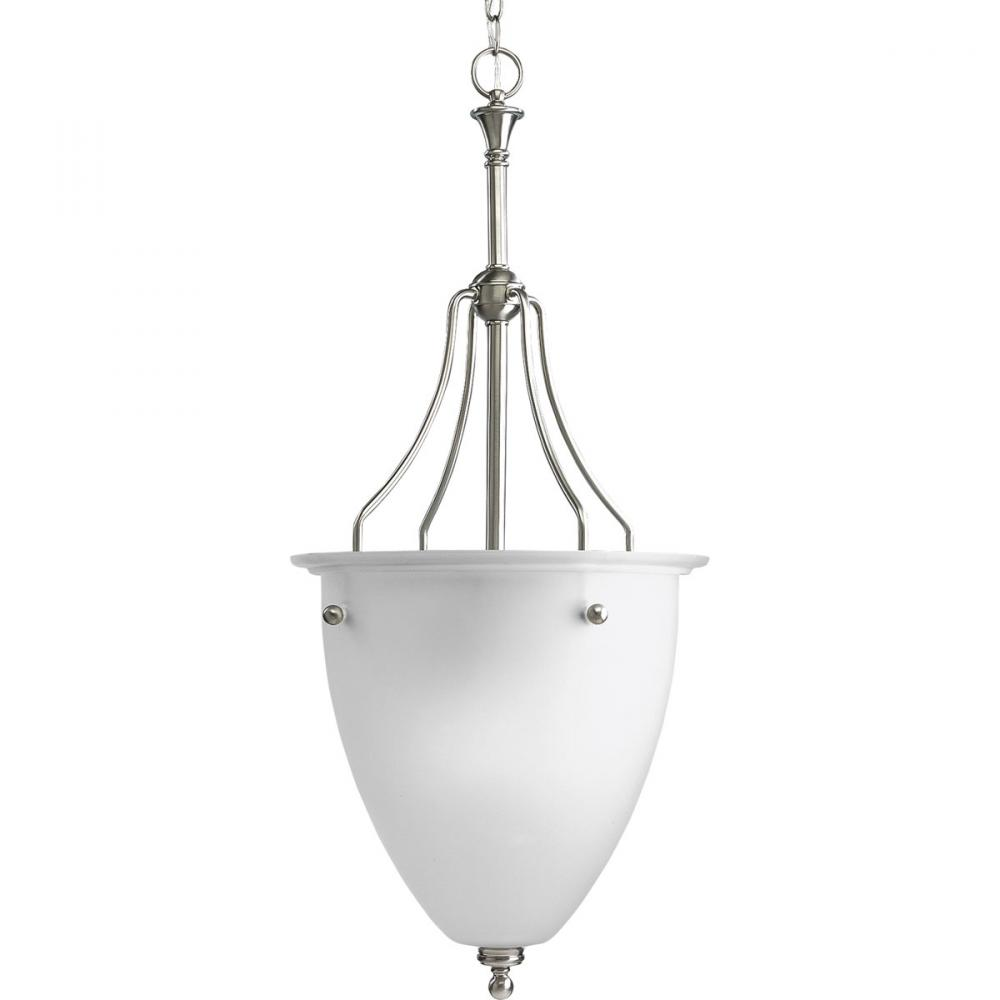 Three Light Brushed Nickel Etched Glass Foyer Hall Pendant
