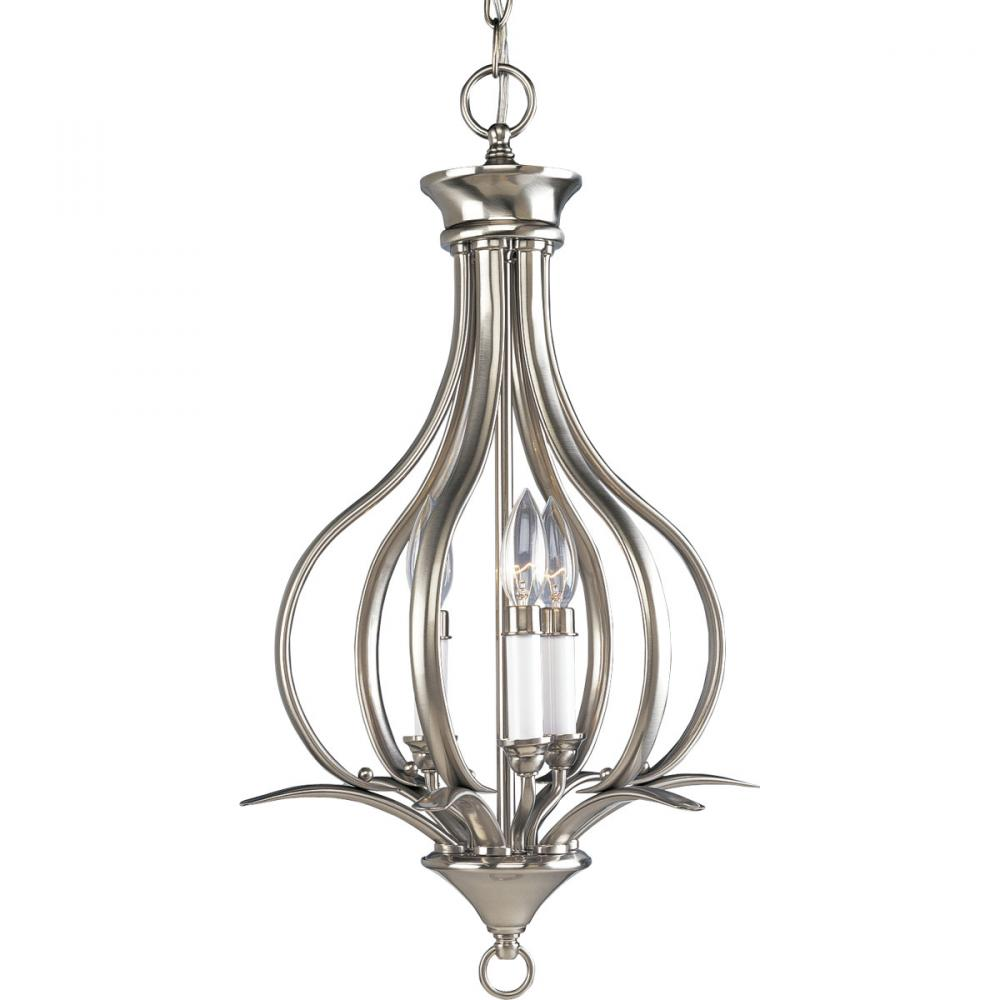 PRO P3807-09 3X60C Brushed Nickel Trinity Foyer Hall Pendant Light
