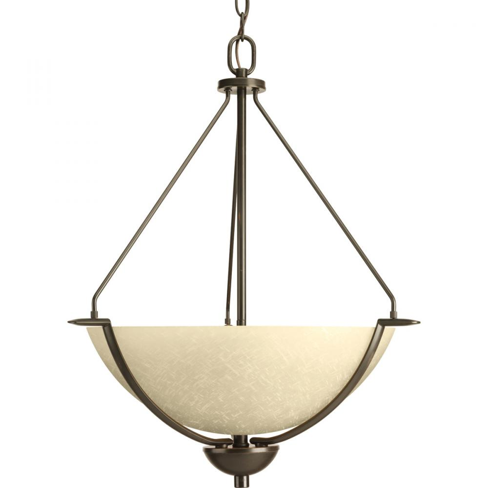 PRO P3912-20 3X100M Antique Bronze Umber Linen Glass Bravo Pendant