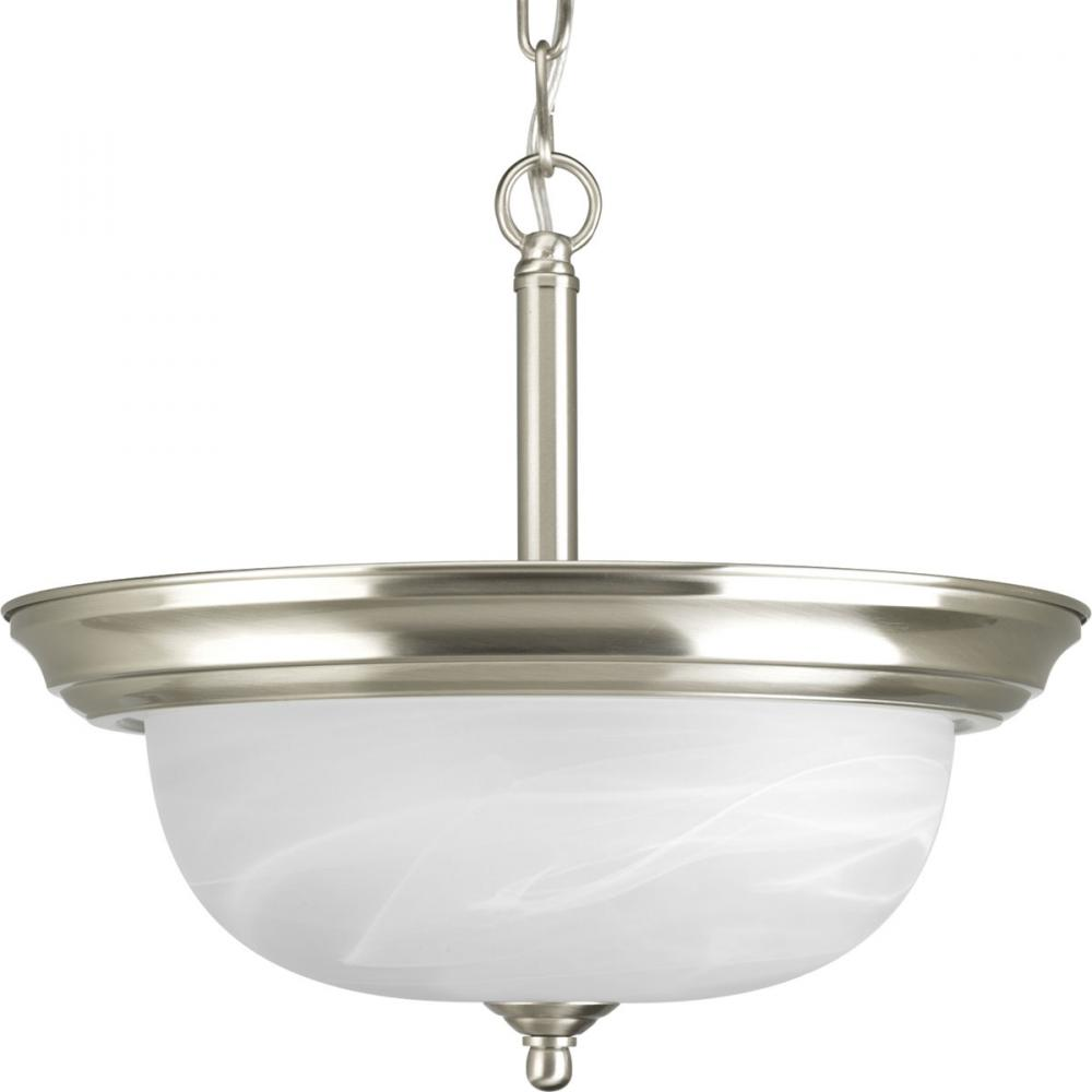 PRO P3927-09 2X100M Brushed Nickel Alabaster Glass Pendant