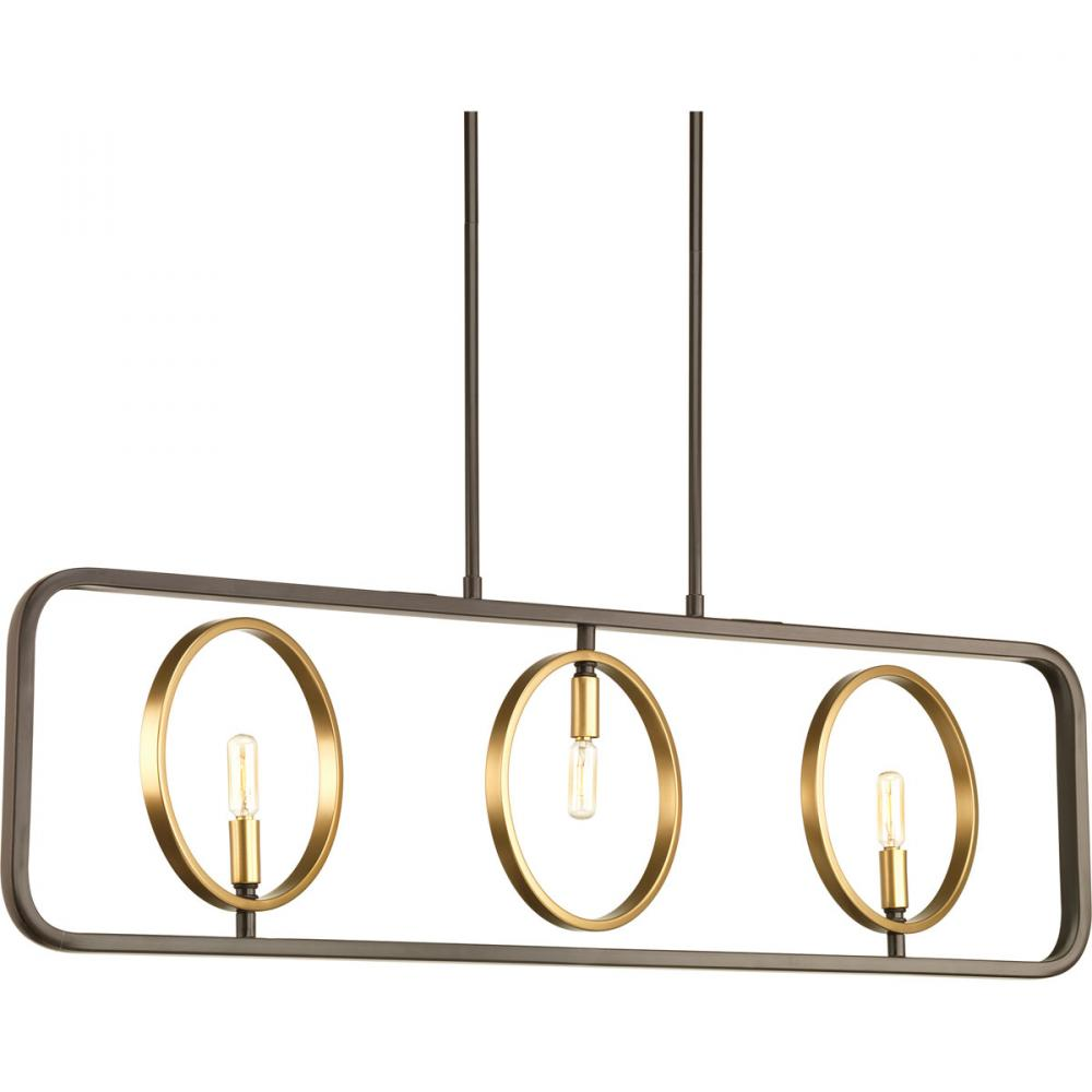 PRO P400039-020 3X60C Swing Antique Bronze & Natural Brass Linear Chandelier