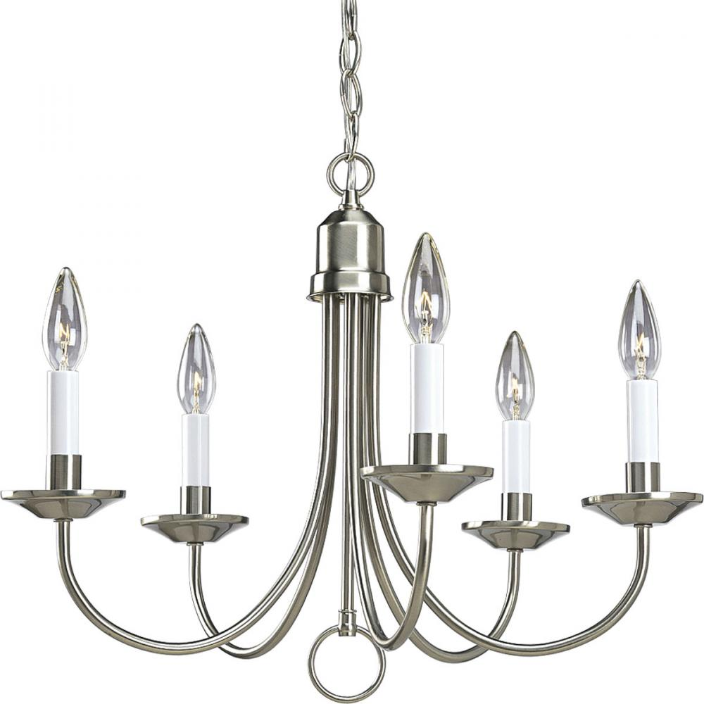 PRO P4008-09 Five Light Brushed Nickel Chandelier 5X60C