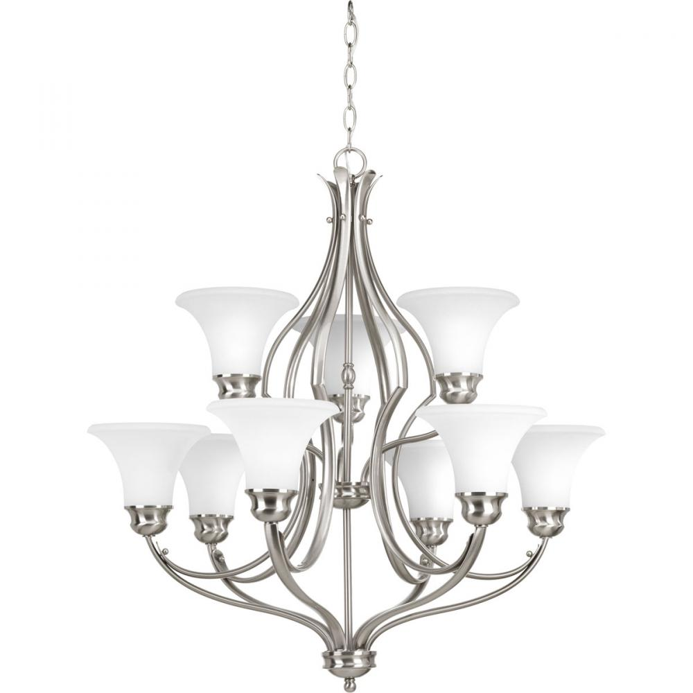 PRO P4037-09 9X100M Brushed Nickel Parchment Glass Applause Chandelier