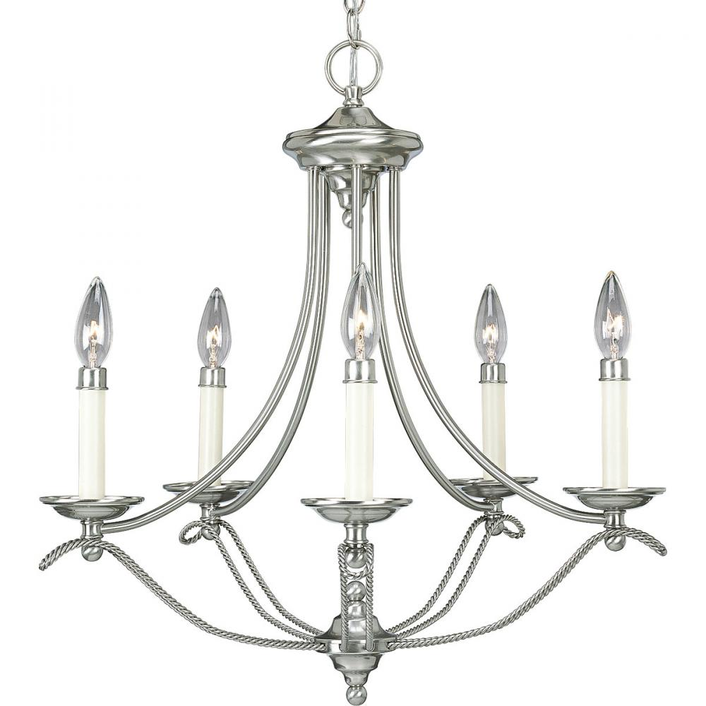 PRO P4057-09 Five Light Brushed Nickel Chandelier 5X60C *** RED TAG ITEM *** $171