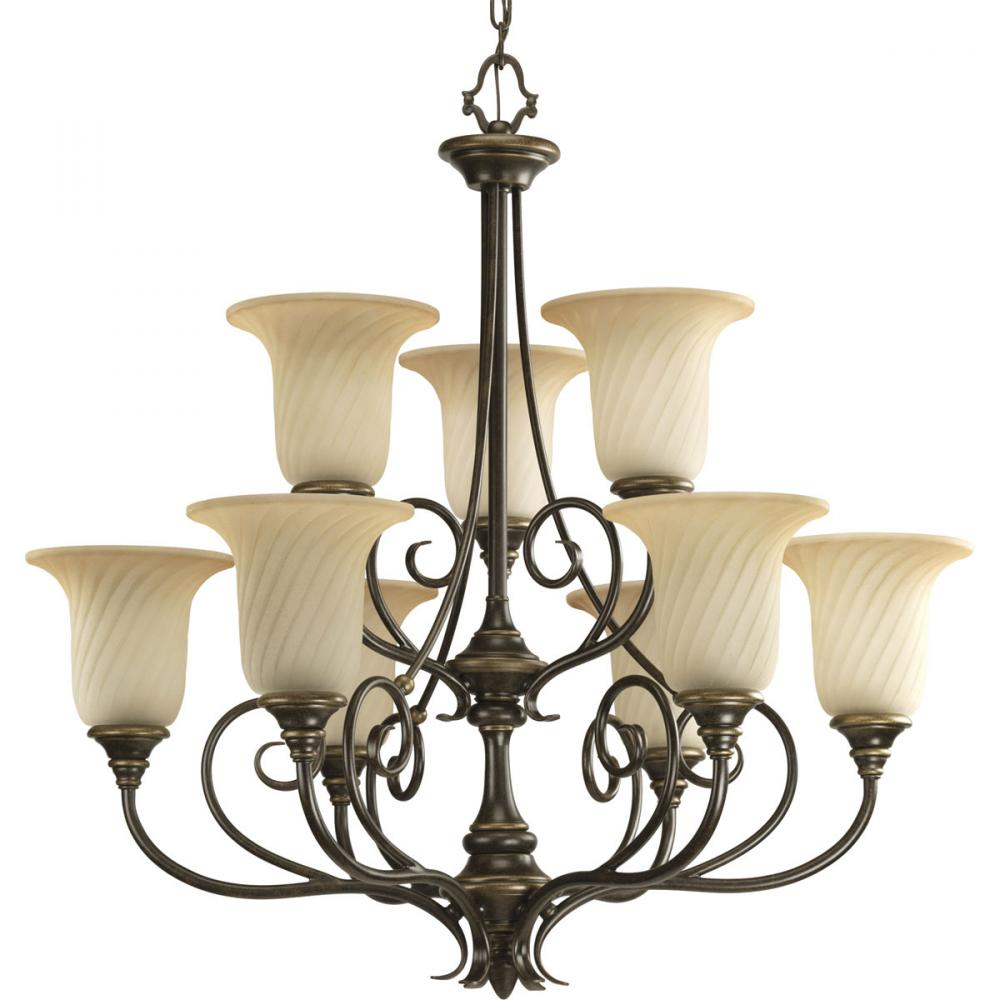 PRO P4288-77 9X100M Forged Bronze Frosted Caramel Swirl Glass Chandelier