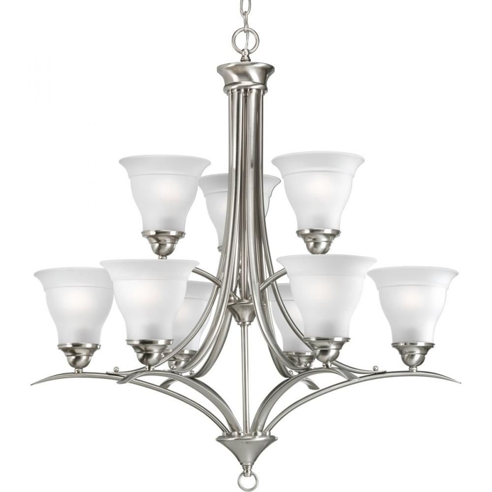 PRO P4329-09 9X100M Trinity Brushed Nickel Chandelier