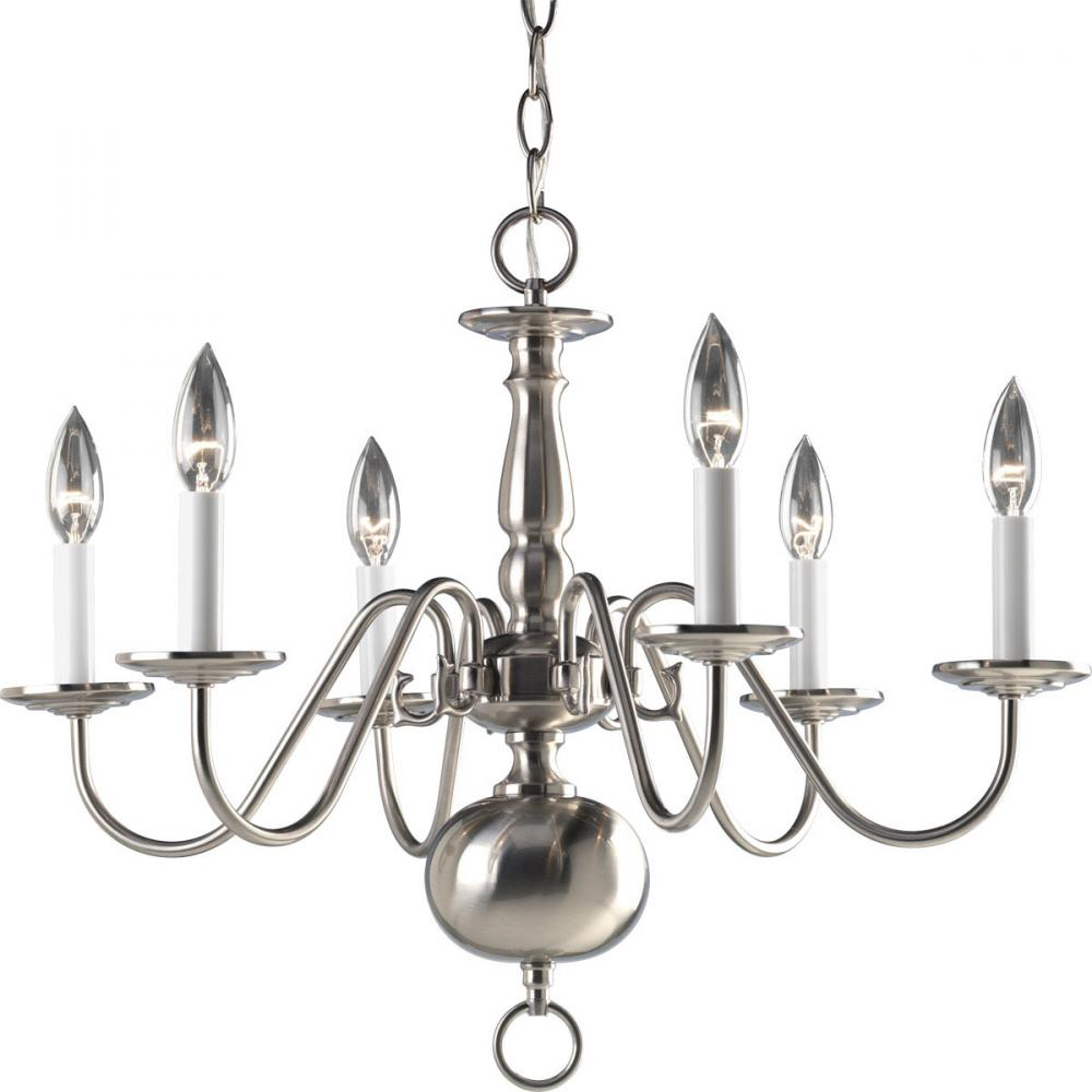 PRO P4356-09 6X60C Americana Brushed Nickel Chandelier