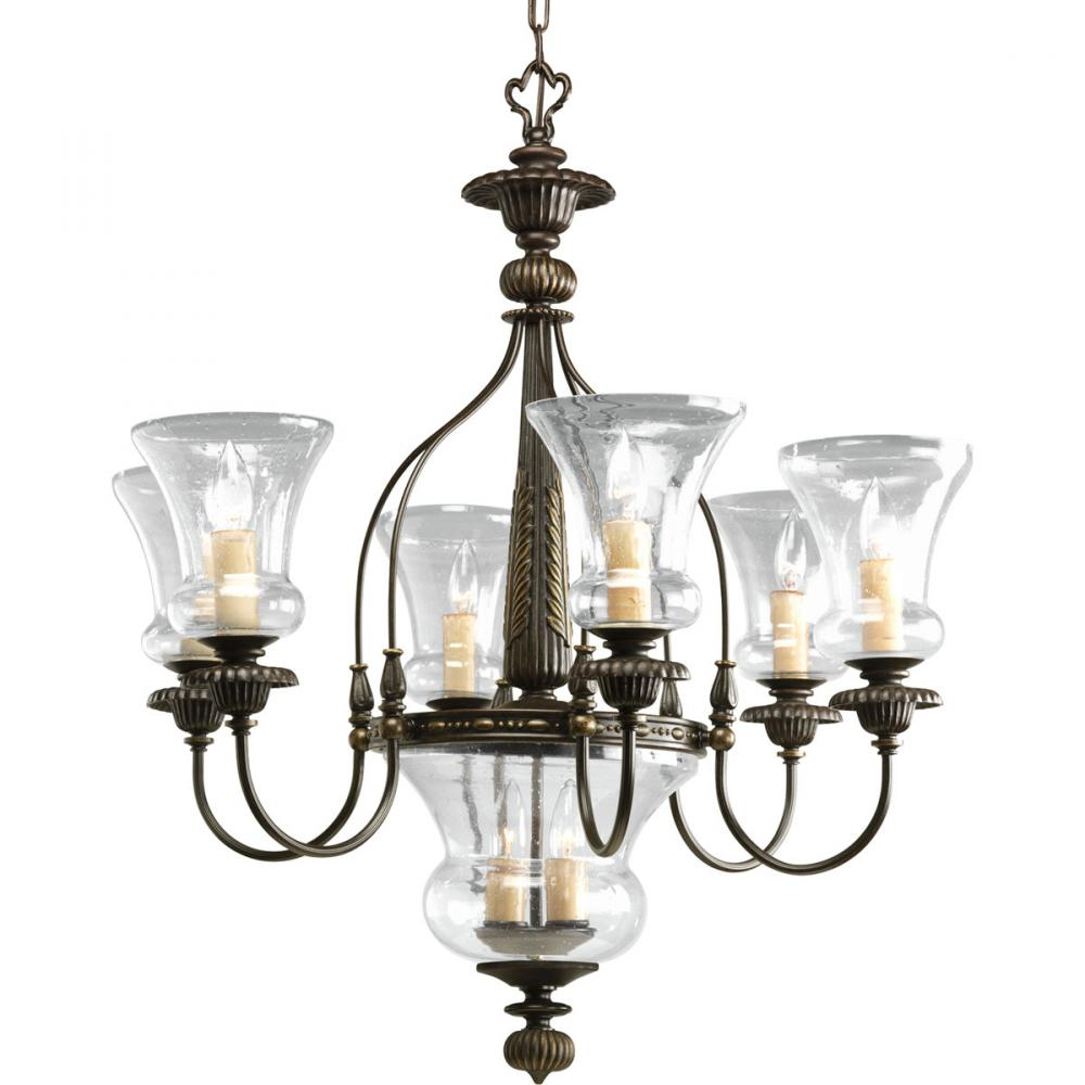 PRO P4410-77 6+2X60C Fiorentino Forged Bronze Chandelier with Clear Seeded Glass