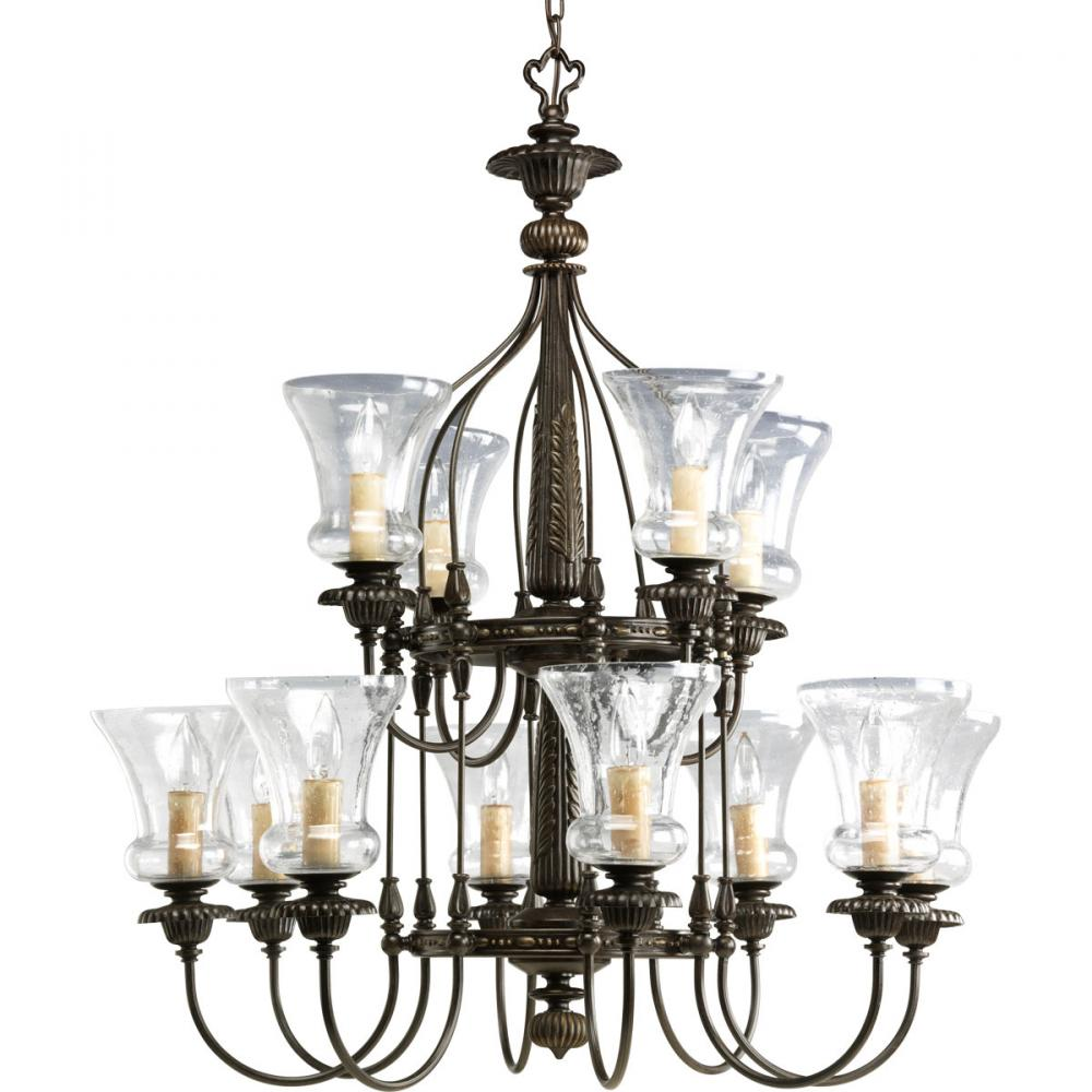 PRO P4411-77 12X60C Fiorentino Forged Bronze Chandelier with Clear Seeded Glass