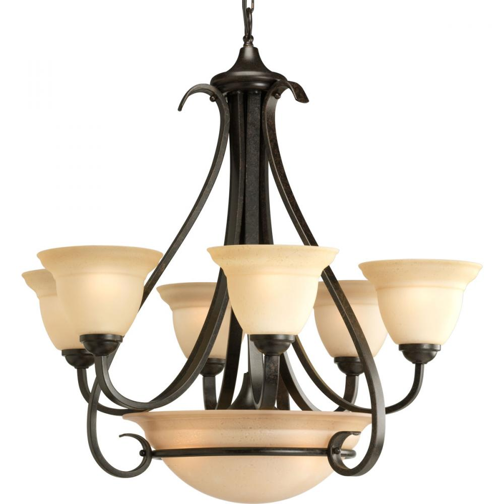 PRO P4417-77 6X100M Forged Bronze Tea-stained Glass Torino Chandelier