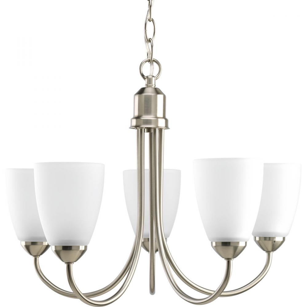 PRO P4441-09 5X100M Gather Brushed Nickel Etched Glass Chandelier