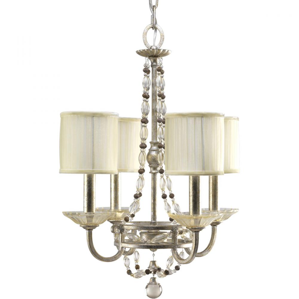 Four Light Antique Silver Matching Hand Painted Candle Sleeves Glass Up Chandelier