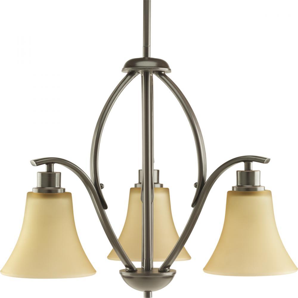 PRO P4489-20 3X100M Antique Bronze Light Umber Glass Joy Chandelier