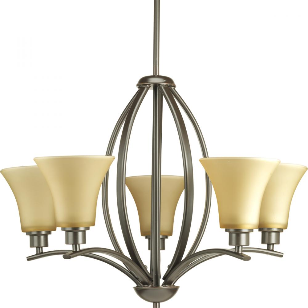 PRO P4490-20 5X100M Joy Antique Bronze Umber Glass Chandelier