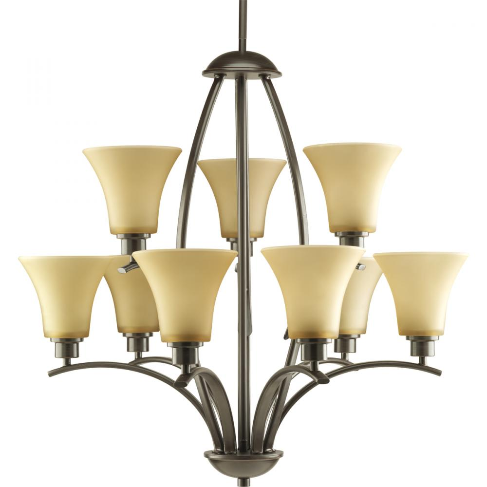 PRO P4492-20 9X100M Antique Bronze Light Umber Glass Joy Chandelier