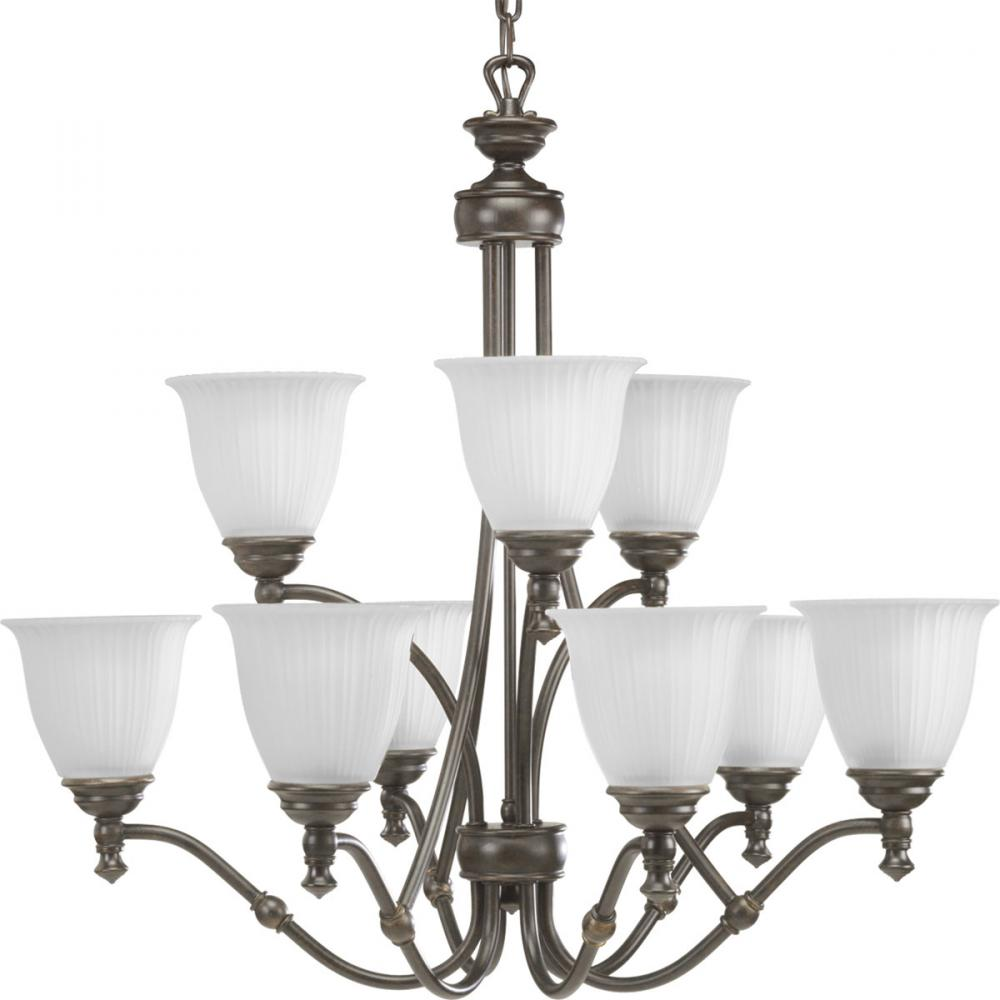 PRO P4509-77 9X100M Forged Bronze Etched Glass Chandelier