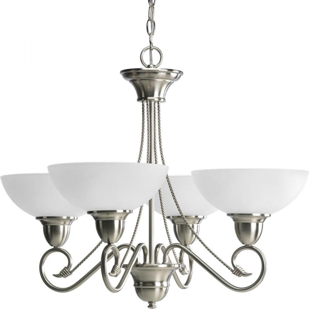 PRO P4592-09 4X100M Brushed Nickel Etched Watermark Glass Chandelier
