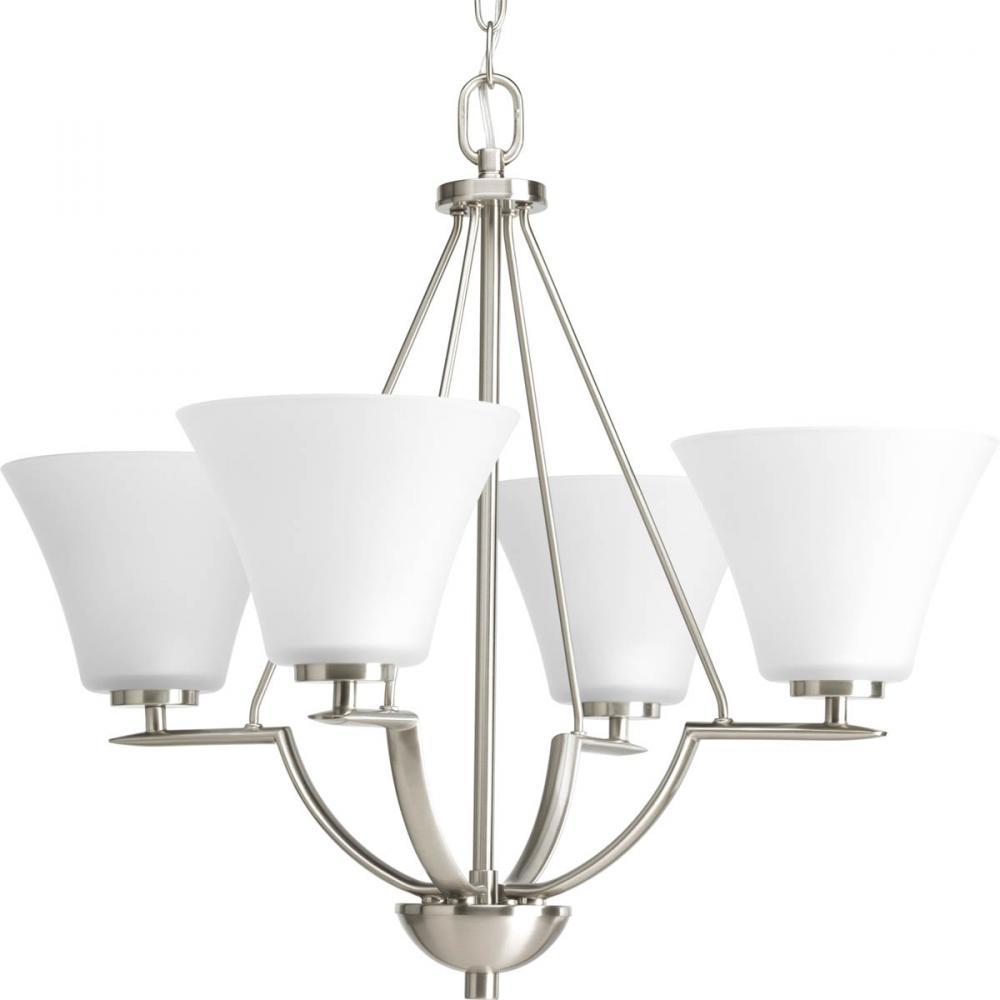 PRO P4622-09 4X100M Bravo Brushed Nickel Etched Glass Chandelier