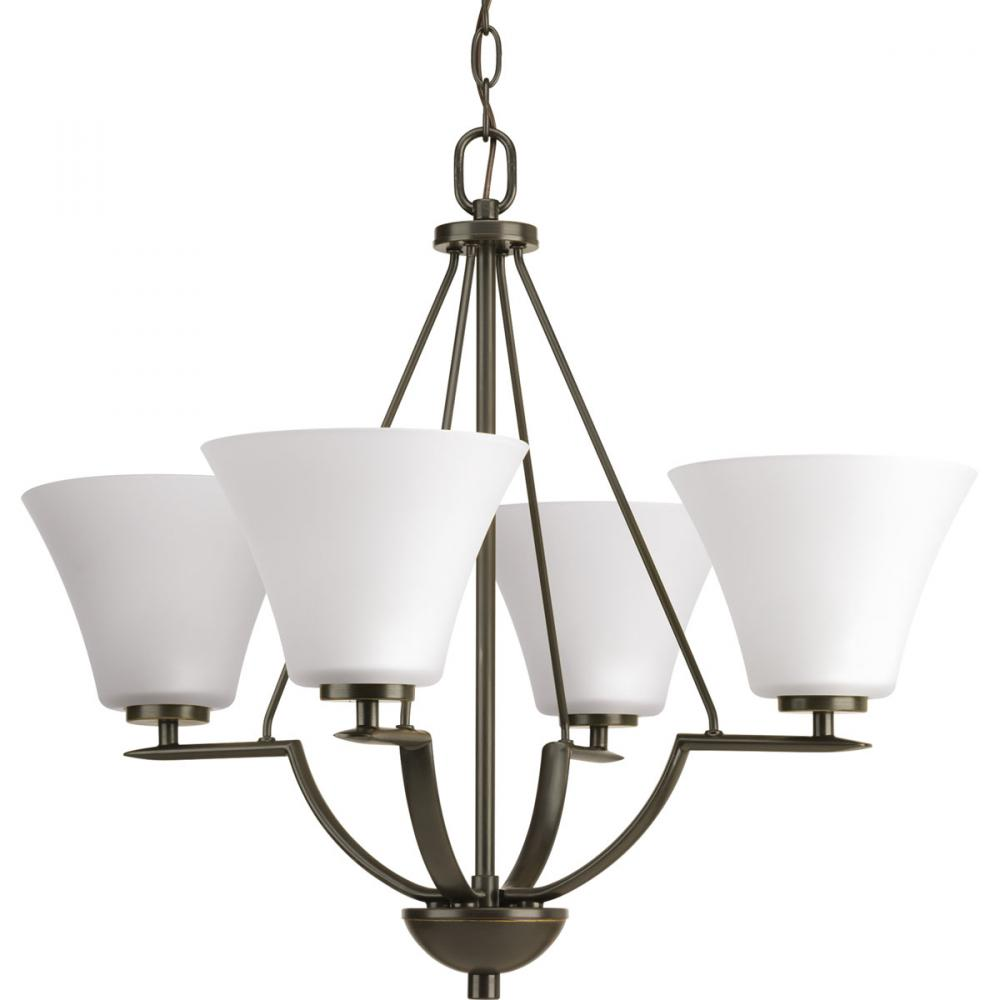 PRO P4622-20W 4X100M BRAVO BRONZE WITH WHITE GLASS CHANDELIER