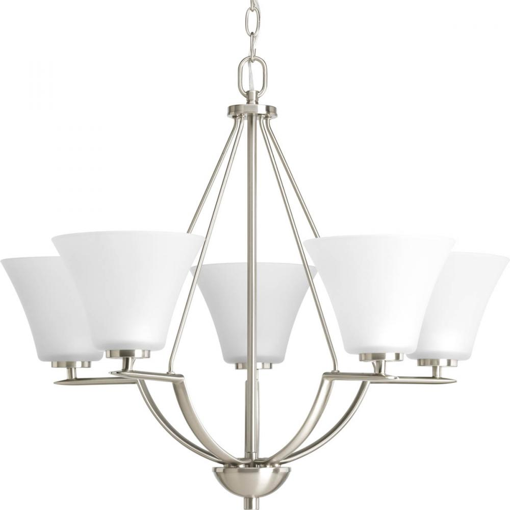 PRO P4623-09 5X100M Brushed Nickel Etched Glass Chandelier