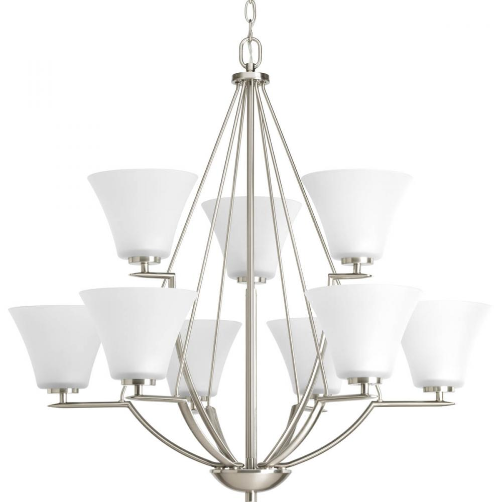 PRO P4625-09 9X100M Bravo Brushed Nickel Etched Glass Chandelier