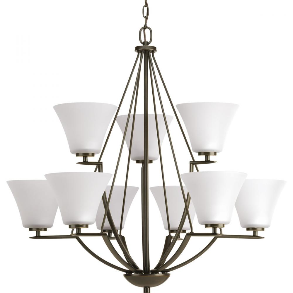 PRO P4625-20W 9X100M BRAVO CHANDELIER BRONZE WITH WHITE GLASS