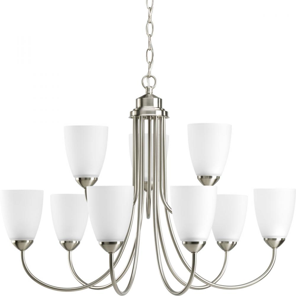 PRO P4627-09 9X100M Gather Brushed Nickel Etched Glass Chandelier