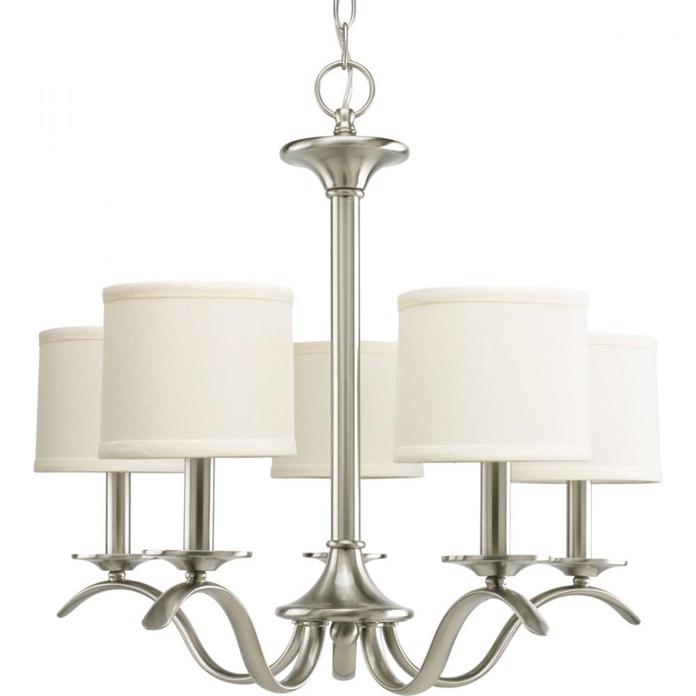 PRO P4635-09 5X60C Inspire Brushed Nickel Chandelier w/Drum Shades