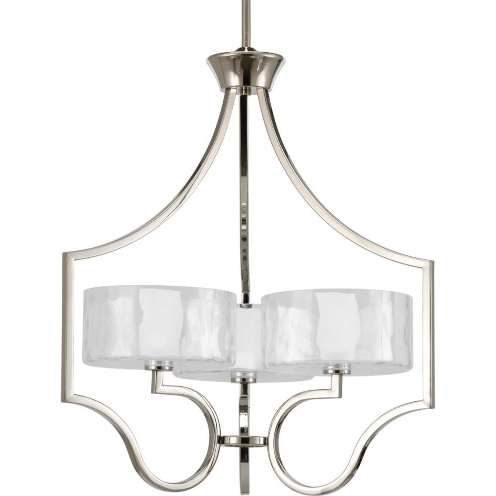 PRO P4644-104WB Caress Polished Nickel Chandelier 3X60C krypton inc