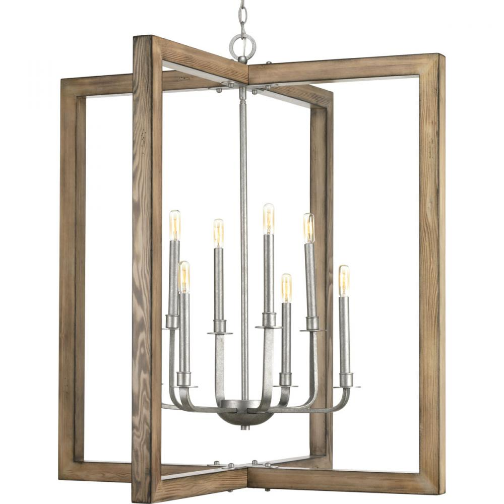 PRO P4763-141 8X60C Turnbury Pine & Galvanized Chandelier