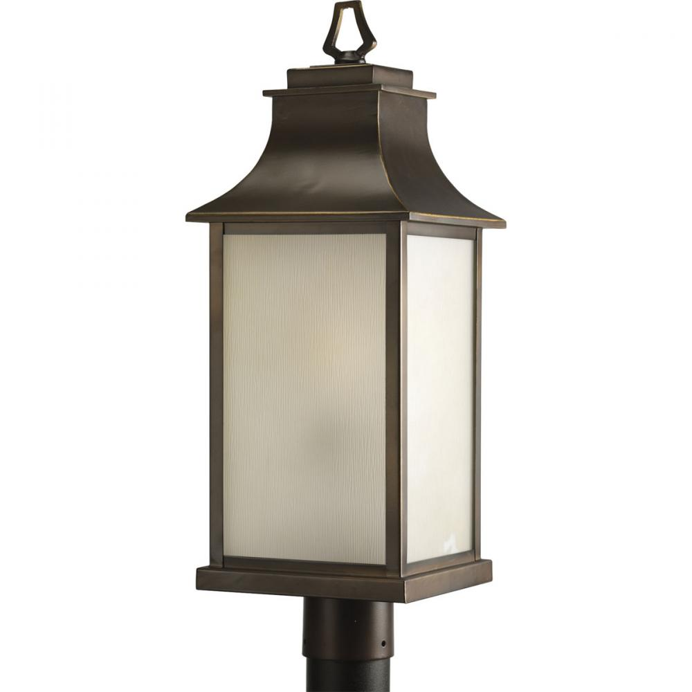 PRO P5453-108 1X100M Oil Rubbed Bronze Amber Glass Post Light DISCONTINUED BY FACTORY