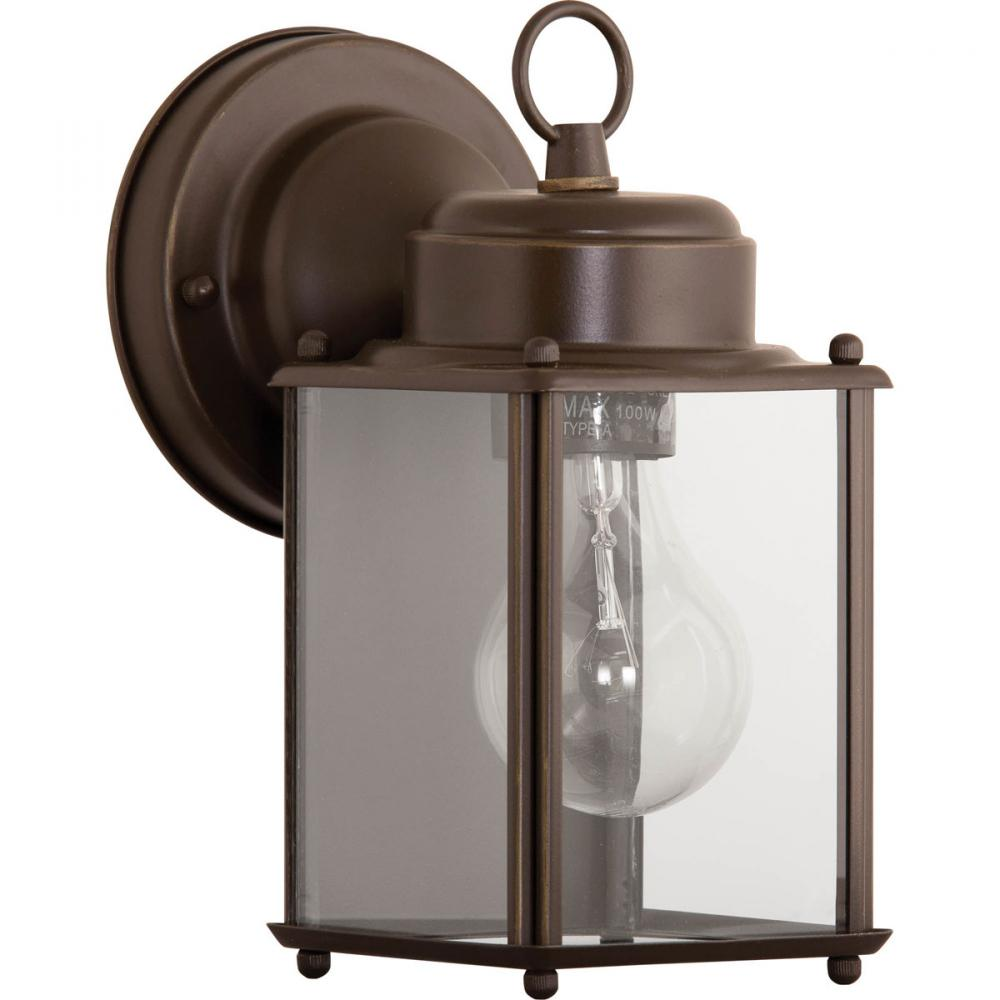 PRO P5607-20 1X100M Antique Bronze Clear Flat Glass Wall Lantern