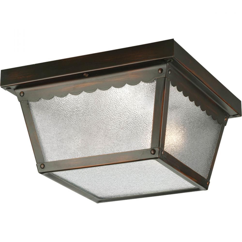 PRO P5729-20 2X60M Antique Bronze Textured Glass Outdoor Flush Mount