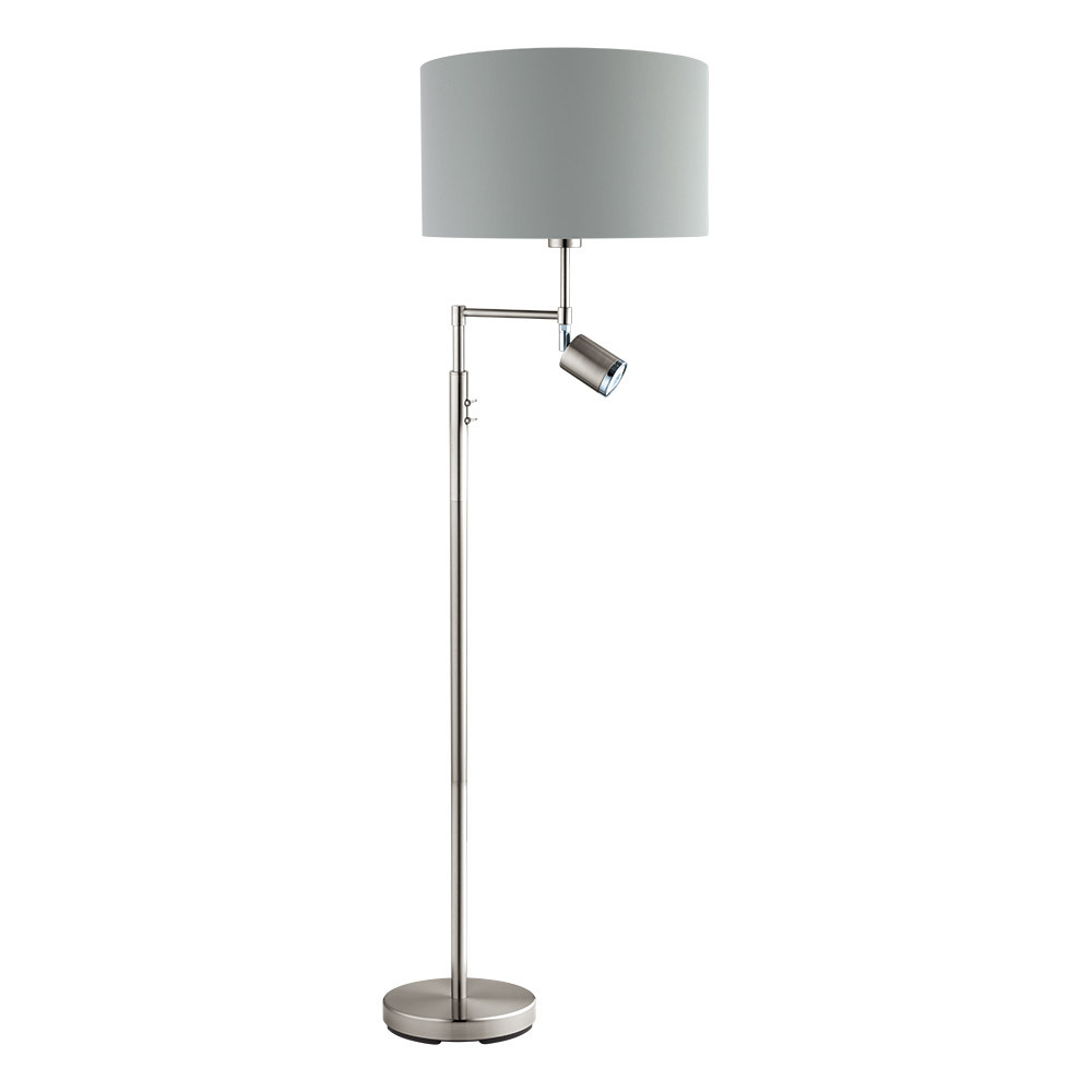 1x60W, 1x6W Floor Lamp w/ Matte Nickel Finish & Grey Exterior & Silver Interior Shade