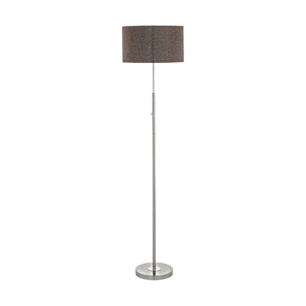 1x24W Floor Lamp w/ Satin Nickel/Chrome Finish & Brown Linen Shade