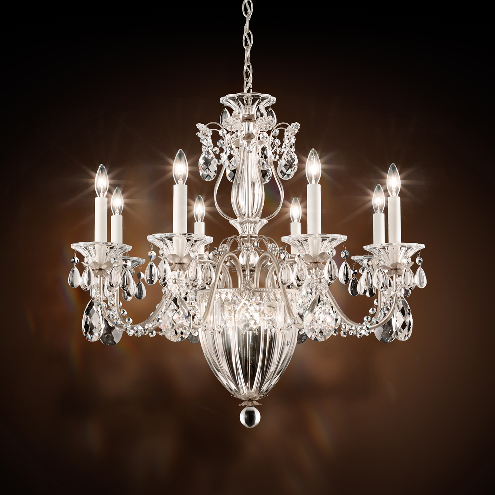 "SCH 1238N-48H Bagatelle 11 Light Chandelier In Antique Silver With Clear Heritage Crystal 26.5""W x 24.5""H 60W B10 lamp not included"