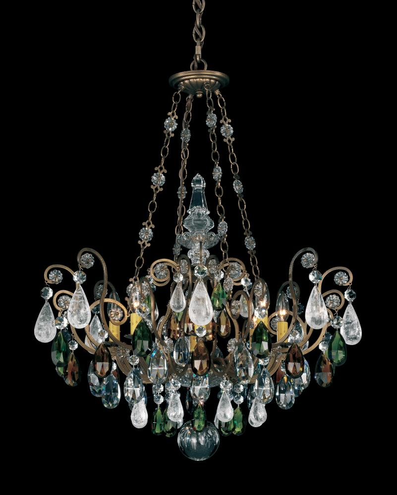 Renaissance Rock Crystal 8 Light 110V Chandelier in Etruscan Gold with Olivine And Smoke Topaz Clear