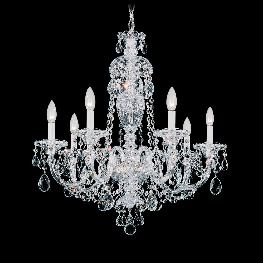 Sterling 7 Light 110V Chandelier in Silver with Clear Heritage Crystal