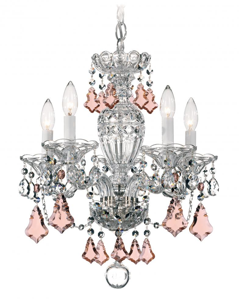 "SCH 2999-211H Sterling 5Lt Crystal Chandelier 16""W x 18""H 60W B10 lamp not included"